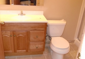 This basement bathroom was remodeled and a new bathroom was installed.