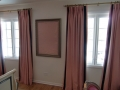 Painting room and hung draperies
