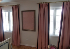 Painted room and hung draperies